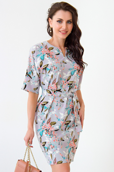 Платье Девушка с обложки (серое, принт цветы) П1354-12 | Taigaopt